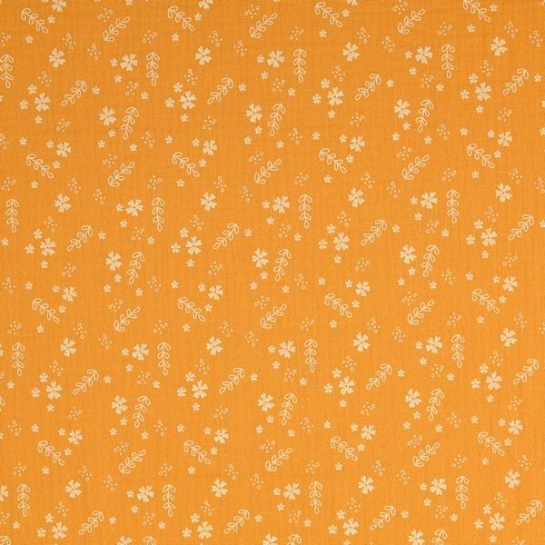 Baumwolle Musselin Double Gauze Blüten Mix Curry-Gelb