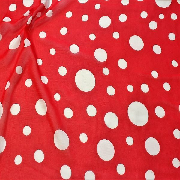 Polyester Chiffon Tupfen Mix Groß Rot