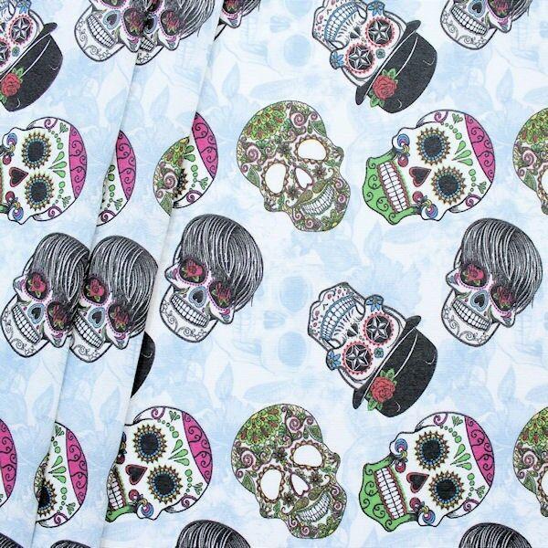 "Dekostoff ""Crazy Skull Mix"" Farbe Hell-Blau"
