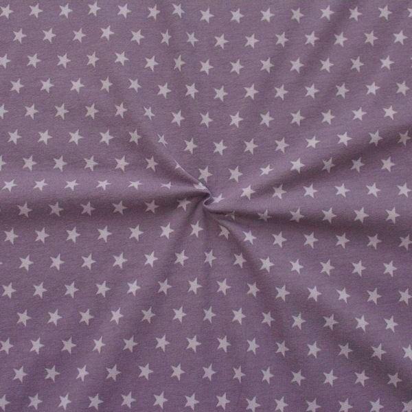 Baumwoll Stretch Jersey Sterne mittel Lila-Flieder