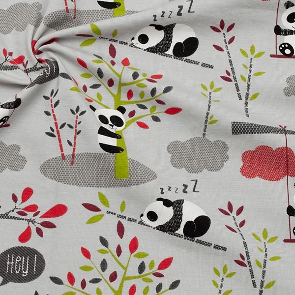 Baumwoll Stretch Jersey Happy Panda Hell-Grau