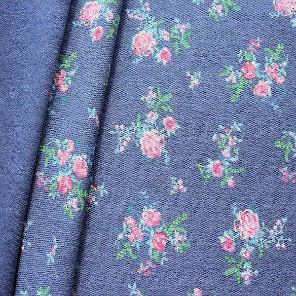 "Sweatshirt Baumwollstoff French Terry ""Romantic Roses 2"" Farbe Blau meliert"