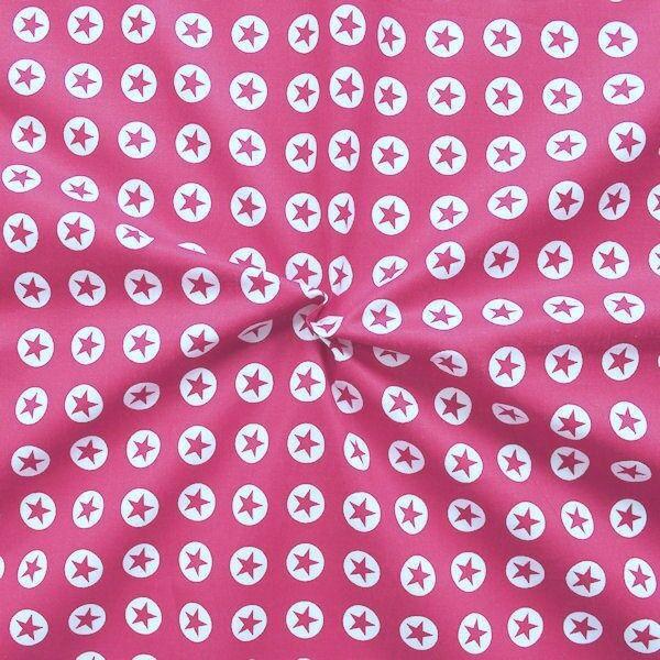 """100% Baumwollstoff """"Stern im Kreis klein"""" Farbe Pink"""