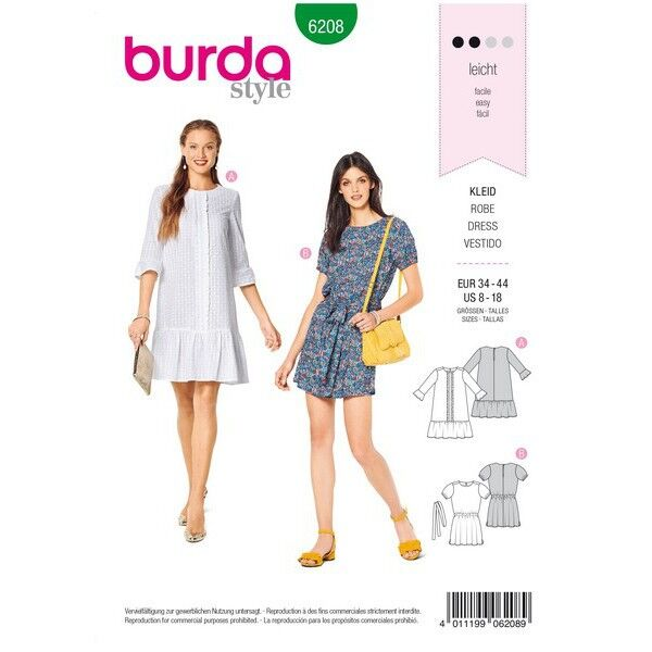 Kleid – legere Form – Saumrüschen, Gr. 34 - 44, Schnittmuster Burda 6208