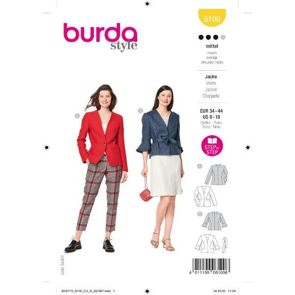 Gefütterte Jacke mit Taschenvariation, Gr. 34 - 44 Schnittmuster Burda 6100