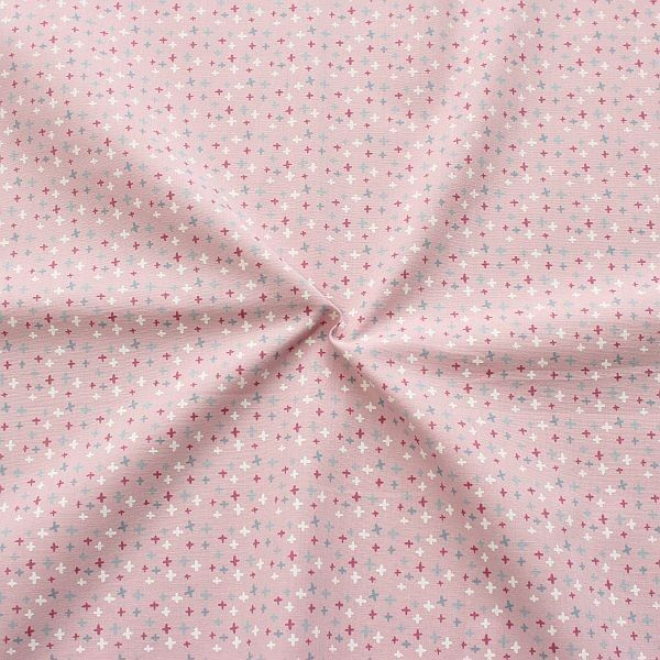 Baumwollstoff Mini Kreuze Rosa