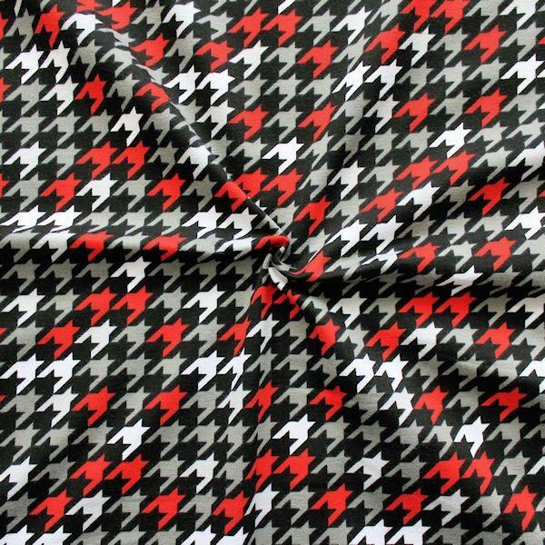 Baumwoll Stretch Jersey Hahnentritt modern Schwarz