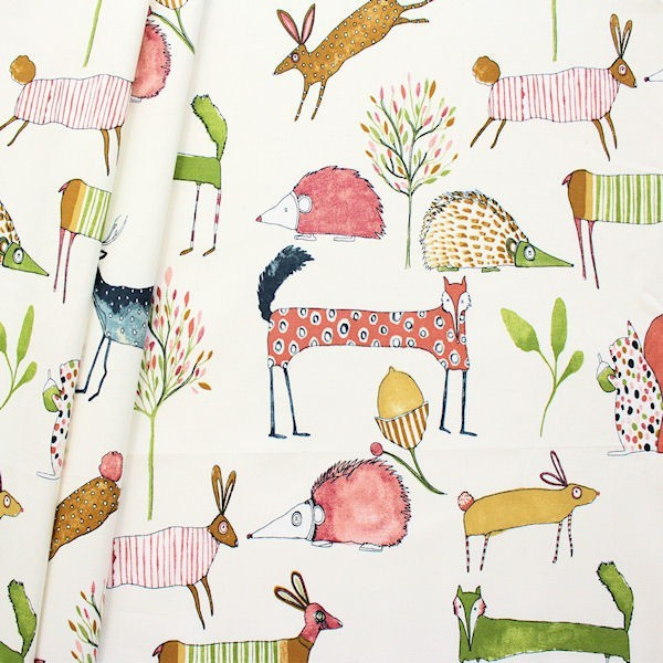 "Design Dekostoff Halbpanama ""Oh my Deer"" Farbe Creme-Weiss"