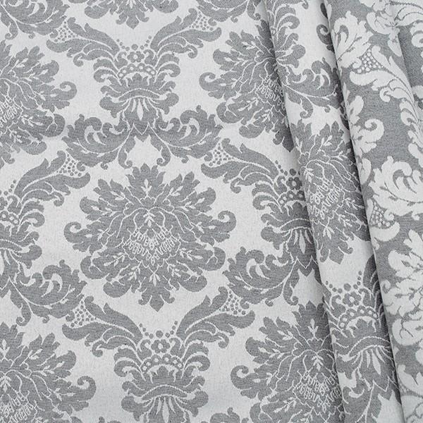 Jacquard Dekostoff Doubleface Floral Barock Silver Hell-Grau
