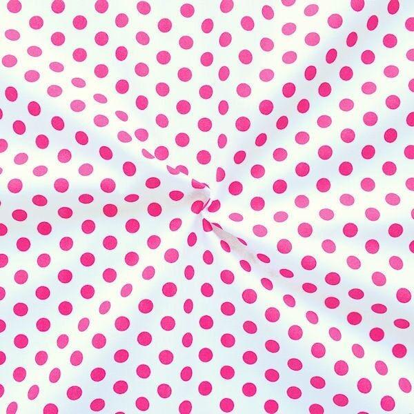 Baumwollstoff Tupfen Weiss-Pink