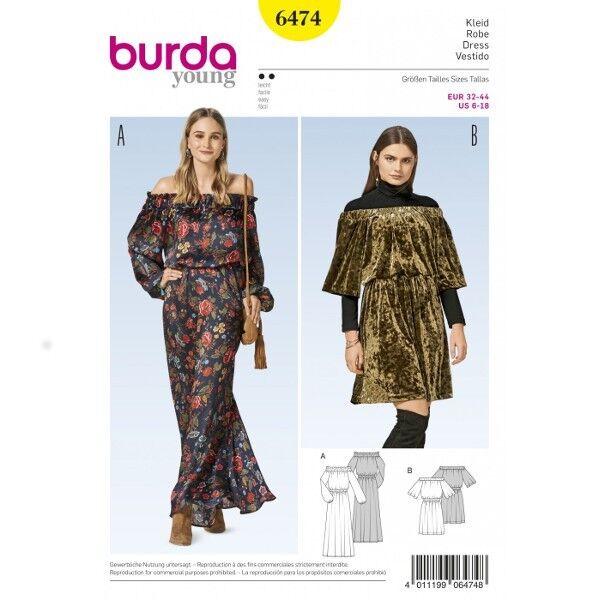 Kleid – Carmen-Ausschnitt – Gummizug – Raglanärmel, Gr. 32 - 44, Schnittmuster Burda 6474