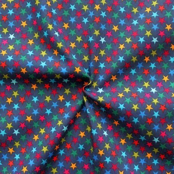 """100% Baumwollstoff """"Bunte Sterne 2"""" Farbe Dunkel-Blau"""