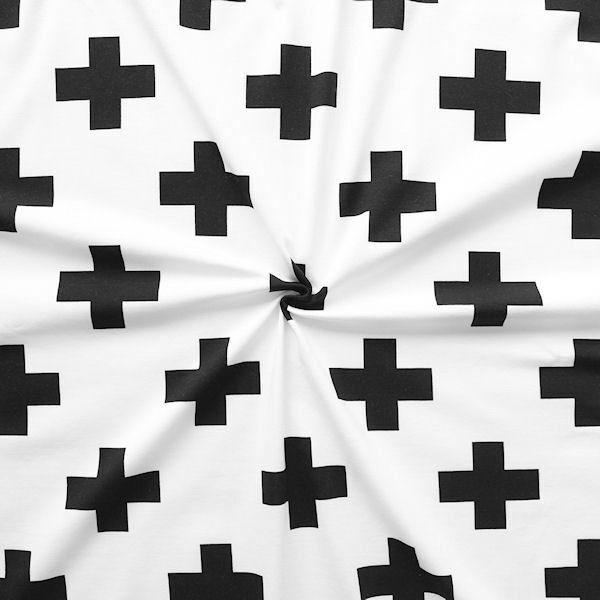 "Baumwoll Stretch Jersey ""Kreuze 2"" Farbe Weiss"