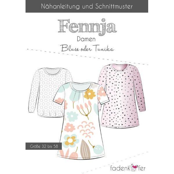 """Fadenkäfer Schnitt """"Fennja"""" Damen Bluse oder Tunika Größe 32 - 58"""