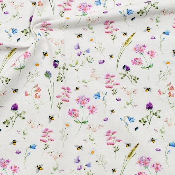 Baumwoll Stretch Jersey Blumen & Bienen Woll-Weiss