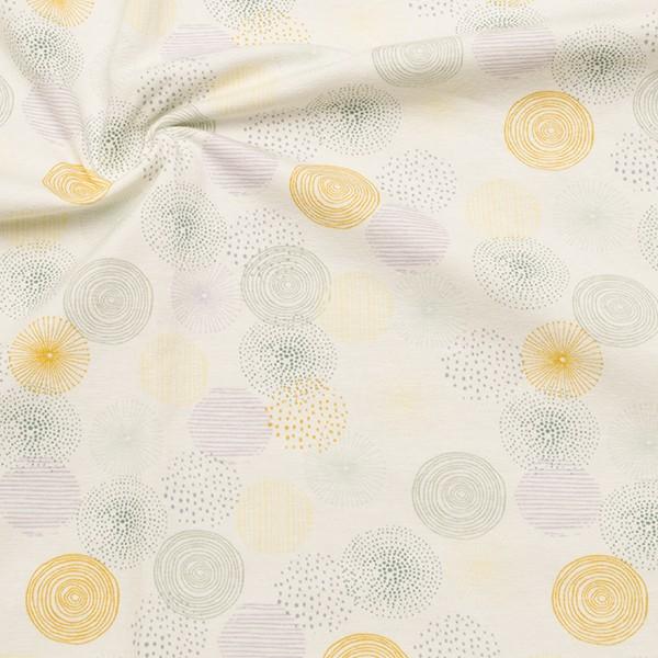 Baumwoll Stretch Jersey Pastell Dots Ecru