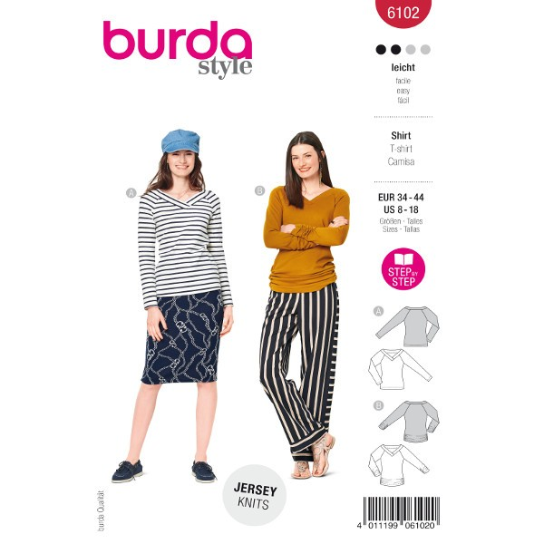 Shirts mit V-Ausschnitt und Ärmelraffung, Gr. 34 - 44 Schnittmuster Burda 6102