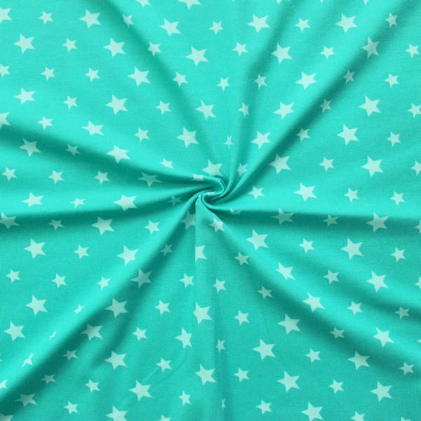 Baumwoll Stretch Jersey Sterne Mix Türkis