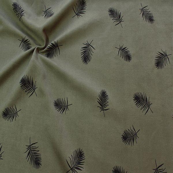 Sweatshirt Fleece Stoff Palmblätter Oliv-Grün