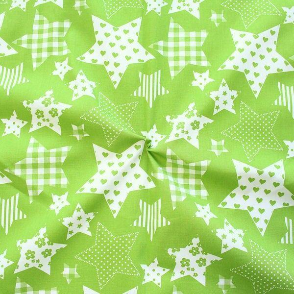 Baumwollstoff Patchwork Sterne Lind-Grün Weiss