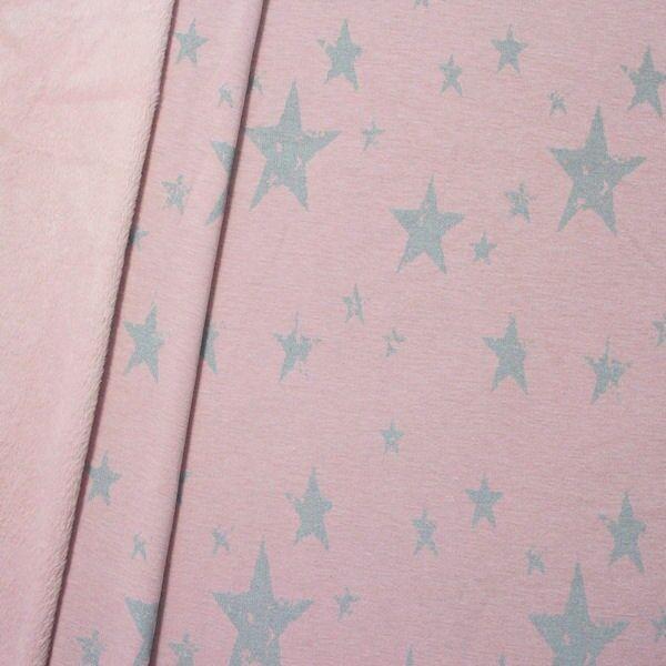 Alpenfleece Sweatshirt Sterne Mix Used Look Rosé melange
