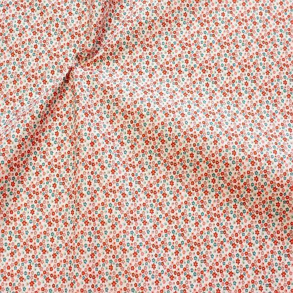 Baumwollstoff Petit Fleurs Weiss-Orange-Petrol