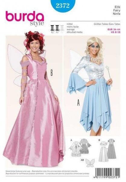 Elfe Korsagen-Kleid – Zipfelrock – Flügel, Gr. 34 - 44, Schnittmuster Burda 2372