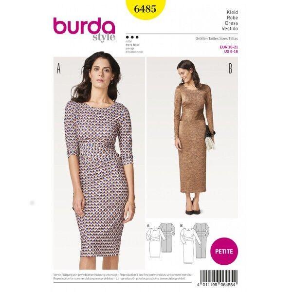 Kleid mit interessanter Taillenblende – Etuikleid – Kurzgrößen, Gr. 16-21, Schnittmuster Burda 6485