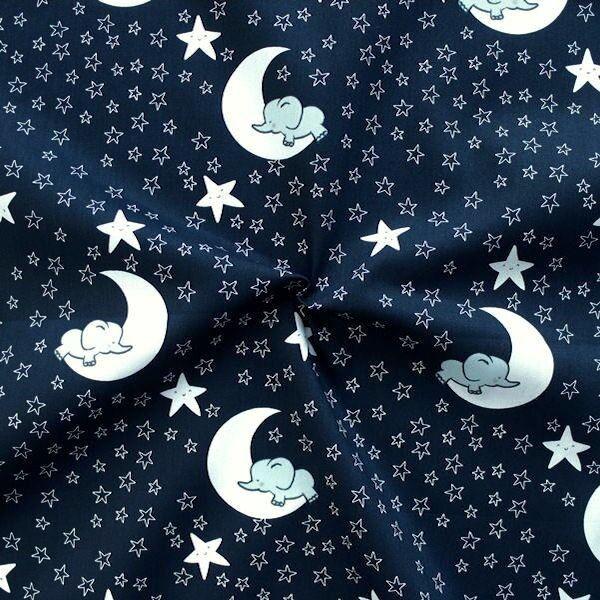 """100% Baumwollstoff """"Elefant im Mond"""" Farbe Dunkel-Blau"""