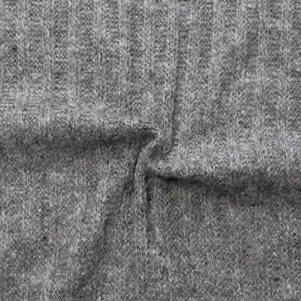 """Strickstoff gerippt """"Wool Look"""" Farbe Grau meliert"""