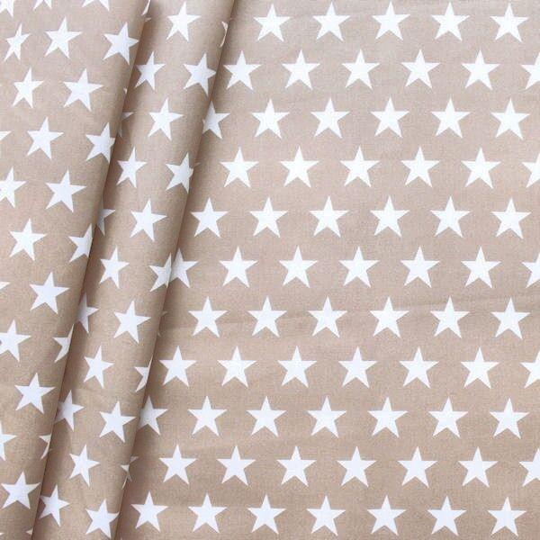 Baumwollstoff beschichtet Sterne Groß Beige