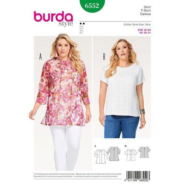 Shirt - Bluse - Materialmix - Paspelverarbeitung, Gr. 46 - 60, Schnittmuster Burda 6552