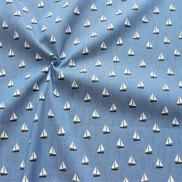 Baumwollstoff Chambray Segelboote Jeans-Blau