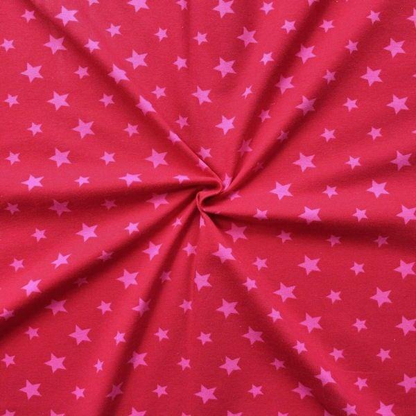Baumwoll Stretch Jersey Sterne Mix Rot