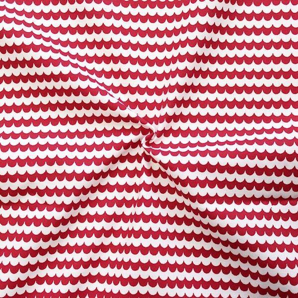 Baumwolle Popeline Wellen Rot-Weiss