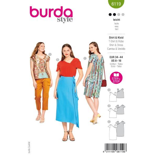 Shirts und Kleid, Gr. 34 - 44 Schnittmuster Burda 6119