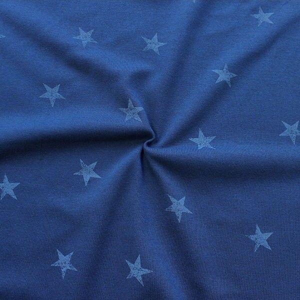 Sweatshirtstoff Sterne Used Look Dunkel-Blau meliert