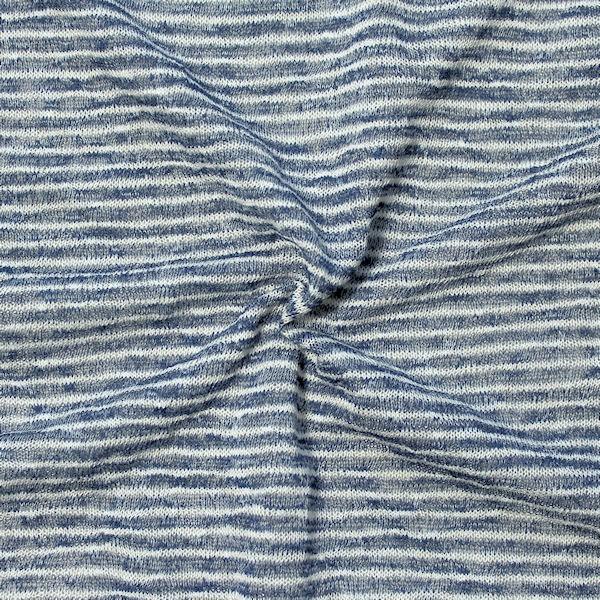 "8,00 Meter Strick Jersey ""Fashion Ringel"" Farbe Blau-Weiss"