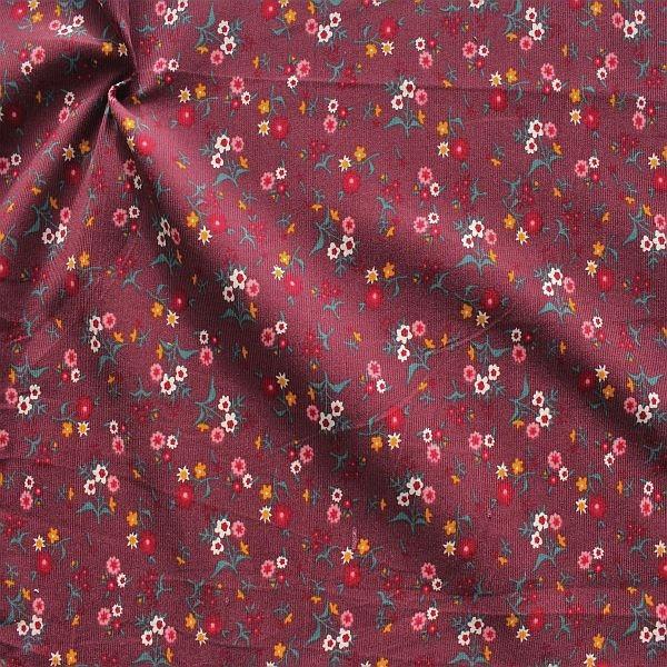 Feincord Baumwollstoff Streublümchen Violett