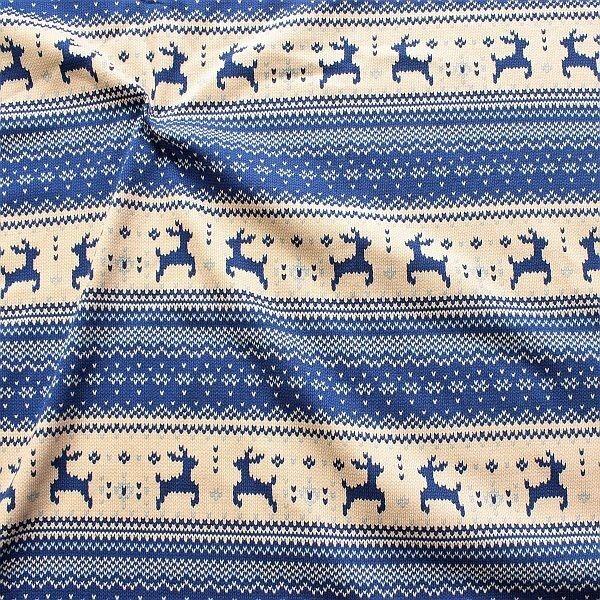 Sweatshirt Baumwollstoff Norweger Strick Optik Blau-Beige