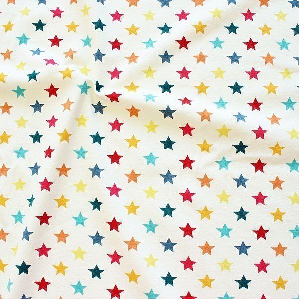 Baumwoll Stretch Jersey Bunter Sterne Mix Ecru-Multicolor