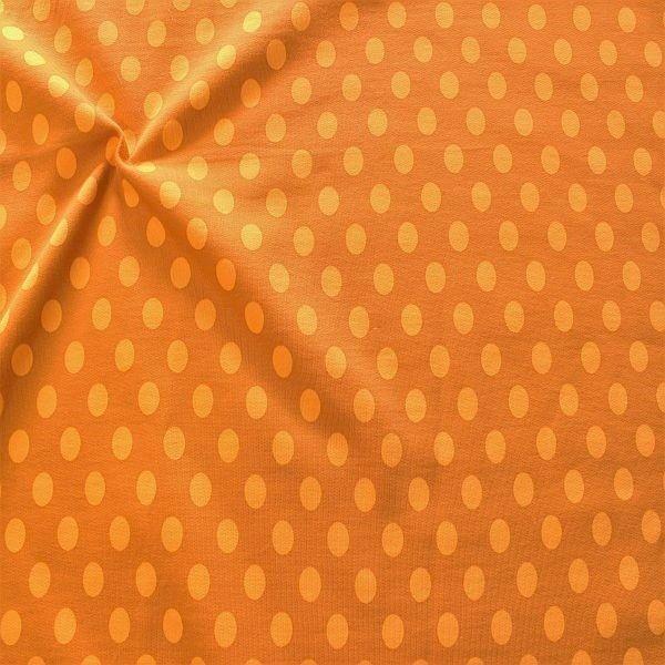Sweatshirt Baumwollstoff Punkte Groß Ocker-Orange