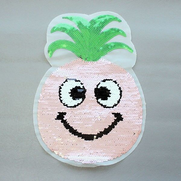 Wendepailletten Patch Happy Ananas Hell-Rosa Silber