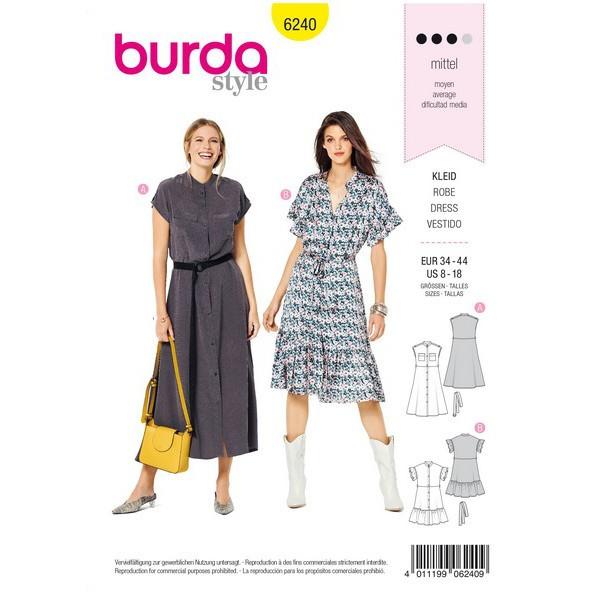 Kleid mit Knopfverschluss – Stehkragen – Rüschen, Gr. 34 - 44, Schnittmuster Burda 6240