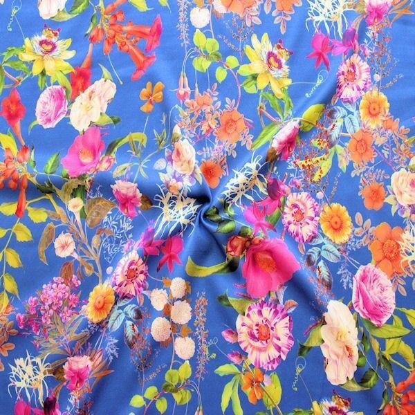 "Stretch Seidenstoff Digital Druck ""Blumenpracht"" Farbe Blau"