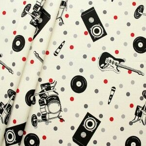 "Dekostoff ""Music and Sound"" Farbe Creme-Weiss"