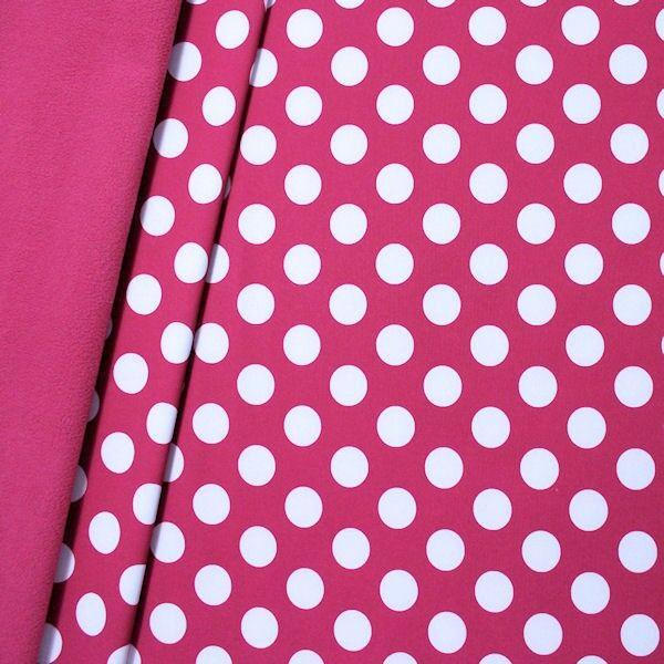 Gepunkteter Doubleface-Softshell-Fleece-Stoff in Fuchsia