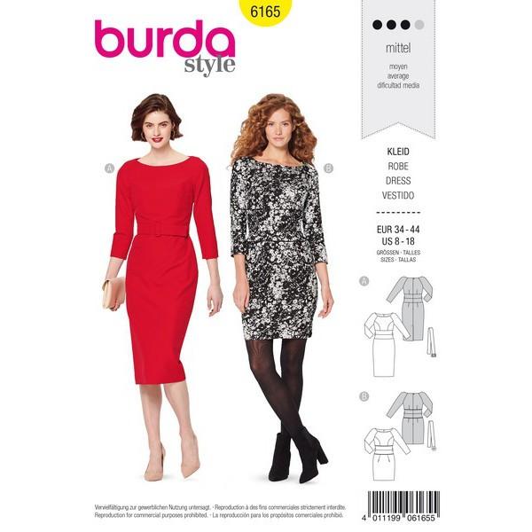 Kleid  – figurbetonte Schnittführung , Gr. 34 - 44, Schnittmuster Burda 6165