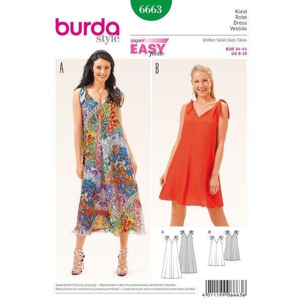 Sommerkleid – Träger auf der Schulter gebunden, Gr. 34 - 44, Schnittmuster Burda 6663