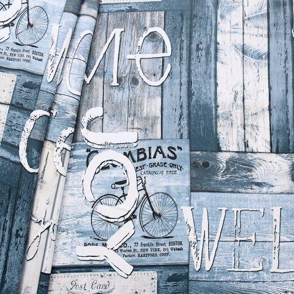 Verdunkelungs- Thermo Vorhangstoff Black Out Shabby Nostalgie Blau Grau